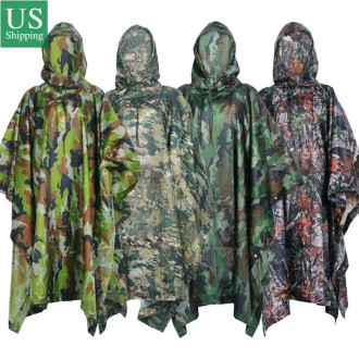PU Multifunction Ripstop Camo Rain Poncho For Outdoor Camping, Hunting, Military