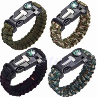 Outdoors Survival Bracelet Emergency Survival Tool with Compass for Outdoor Camping Hiking Travel