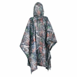 PU Multifunction Ripstop Tree Camo Rain Poncho For Outdoor Camping, Hunting, Military