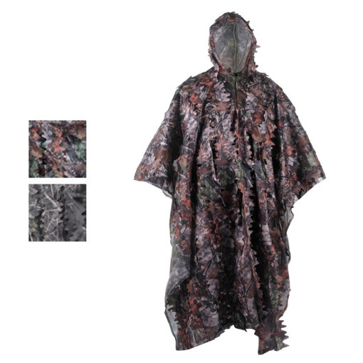 Bionic Camouflage Rain Poncho Style Ghillie Suit For Hunting, Wargames And Other Outdoor Activities