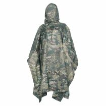 PU Multifunction Ripstop CP Camo Rain Poncho For Outdoor Camping, Hunting, Military