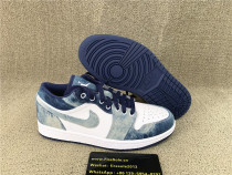 Authentic Air Jordan 1 Low Wahsed White Blue