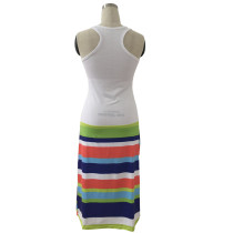 Multi-Color Striped Long Dress without Sleeve 21032