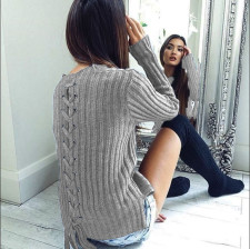 Fitted Plain Sweaters with Lace-Up Details 23842-2