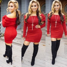 Mature Red Off-shoulder Sexy Bodycon Dress 18734