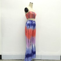 Printed Bandeau Bra and Matching Wide Legs Pants 21222-9