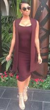 Solid Color Sleeveless Bodycon Office Dress 19854