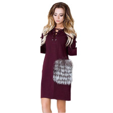 Sleeved Lace-up Neck Wine Red Dress  23723-3