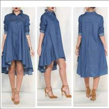 Fashionable Cowboy Blue Denim Turtleneck Street Dress 19018