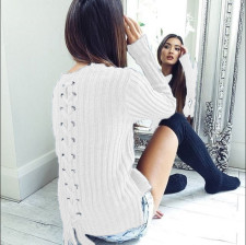 Fitted Plain Sweaters with Lace-Up Details 23842-3