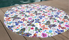 Butterfly Design Chiffon Art Print Round Beach Towel 21119-5