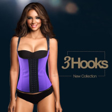 Latex Purple Sport Waist Cincher Vest Rubber Shapewear 16157-1