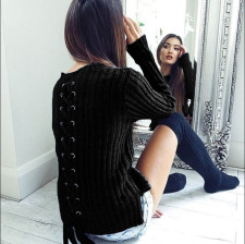 Fitted Plain Sweaters with Lace-Up Details 23842-1