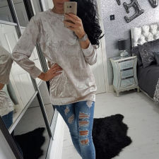 Pure Velvet O-Neck Pullover Tops 23554-6