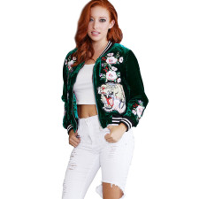 Animal Print Velvet Green Jacket 22831-2