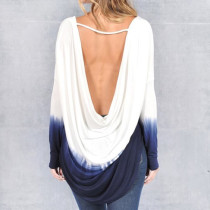 Sexy Low Back High-Low Gradient Tops 22201