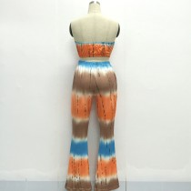 Printed Bandeau Bra and Matching Wide Legs Pants 21222-7