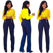 Wear-to-Work Yellow Blouse and Blue Pants 21056
