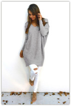 V-Neck Gray Sweaters 22645-3