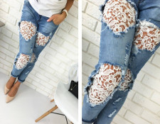 Pocket Design Zipper Fly Lace Insert Denim Jeans 21864