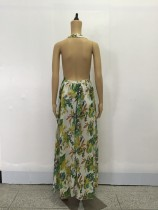 Floral Green Long Beach Dress 20497