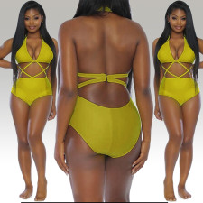 Fresh Yellow High Waist One Piece Swimsuit 19117
