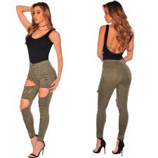 High Waist Ripped Jeans Green 23487