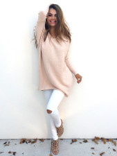 V-Neck Pink Sweaters 22645-1