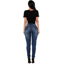 Sexy Fitted Damaged Blue Jeans 23811