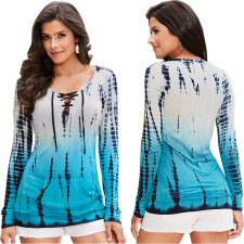 Long Sleeve Lace-Up Gradient Casual Tops 21515