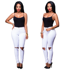 Sexy High Waist Ripped Jeans White 23446