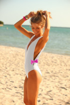 Stylish White One Piece Swimsuit 18932-3