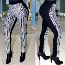 Silver and Black Sequins Leggings 23178