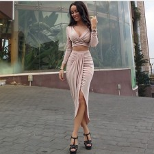 Enchanting Skin Color Open Waist Asymmetric Dress 19089