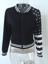 Ttredy Star and Stripes Print Black Jacket 22415