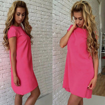 Sweet Rosy Short Sleeve Loose Casual Dress 24350-3