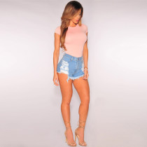Women High Waisted Washed Ripped Short Jeans 24539-1