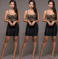 Golden Beaded Black Strap Top and Skirt Sets 24253-1