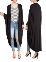 Plain Color Long Casual Loose Batwing Cardigans 25036-1