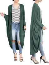 Plain Color Long Casual Loose Batwing Cardigans 25036-3