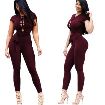 Wine Red Cap Sleeve Lace Up Design Jumpsuit 25033