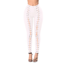 Lace Up Front Hollow Out White High Waist Pants 25028-2
