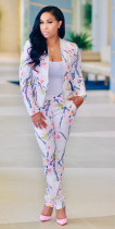 Women Floral Business Blazer and Pants 25450-2