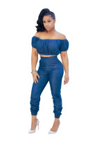 Stylish Blue Dinim Off Shouldr Crop Top and Jeans 25306
