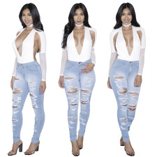 Pale Blue Ripped Destroyed Jeans 25909