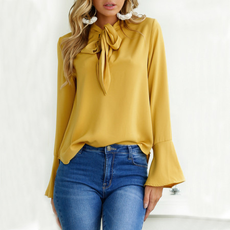 Sheer Chiffon Top with Tied-Front and Wide Cuvies 26341-1