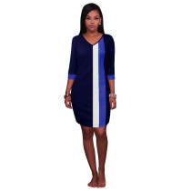 Block Colors V-Neck Straight Dress with 1/2 Sleeves 26998-6