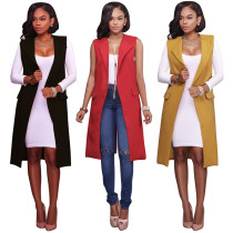 Solid Color Sleeveless Long Blazer with Pockets 26775-3