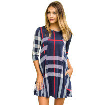 Check Pattern A-Line Shirt Dress with 1/2 Sleeves 26995-1