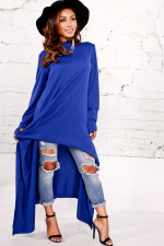 Street Style Asymmetrical Long Tops 27101-2